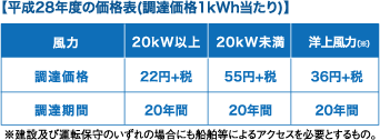 【平成28年度の価格表(調達価格1kWh当たり)】